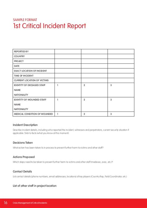 critical incident report template crisis management of critical incidents