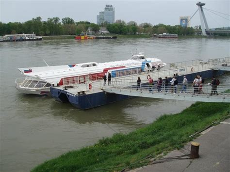 boat trip from vienna to bratislava fast ferry coming in to dock at bratislava picture of