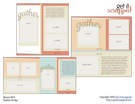 scrapbook page sketch and template bundle 93