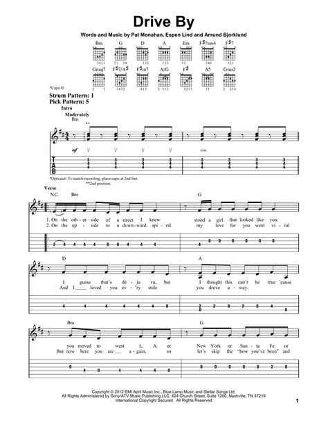 drive by chord train drive by easy guitar tab sheetmusicdirect com