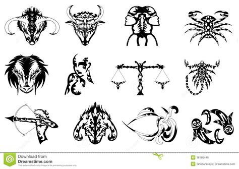 free tattoo pictures of zodiac signs set of zodiac signs tattoos in black royalty free stock