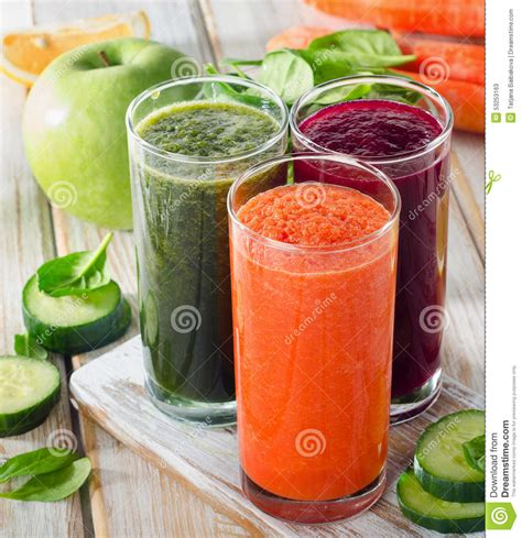 Vegetable Juice Detox by Glasses With Fresh Vegetable Juices Detox Diet Stock