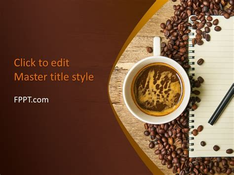 Free Coffee Beans With Notepad Powerpoint Template Free Powerpoint Templates Coffee Powerpoint Template Free