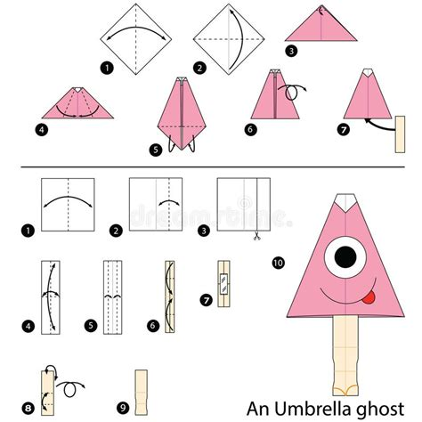 step by step how to make origami an umbrella