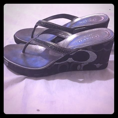 Tara Wedges In Silver 50 coach shoes coach black sandal wedges size 8