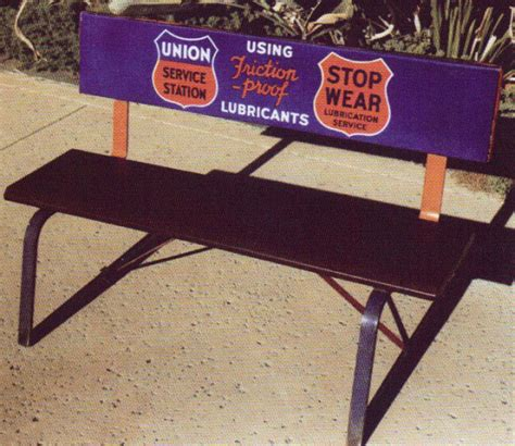 bench signs union service station bench antique porcelain signs
