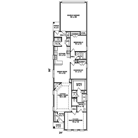 long narrow apartment floor plans hawken narrow lot home plan 087d 1527 house plans and more