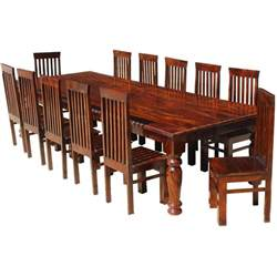 large solid wood rectangular rustic dining table chair