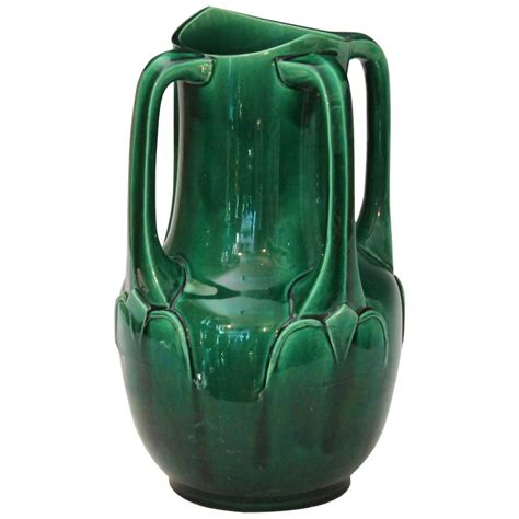 Artisan Vases by Awaji Pottery Nouveau Four Handle Buttress Vase For