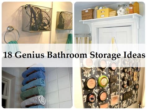 Bathroom Storage Ideas Diy 18 Genius Bathroom Storage Ideas Http Www Homemadehomeideas 18 Genius Bathroom Storage