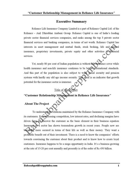Mba Project Reliance Insurance by A Project Report On Customer Relationship Management In
