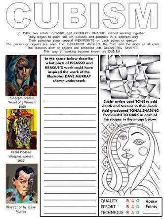 picasso biography for middle school student art worksheets google search art history