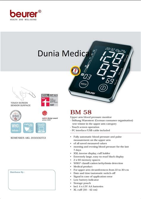 Daftar Tensimeter Digital jual tensimeter digital touch screen beurer bm58 harga