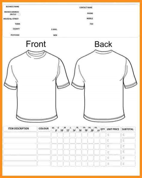 8 t shirt order forms template free parts of resume