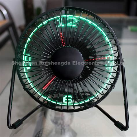 Usb Led Clock Fan new metal mini desktop usb led clock fan with realtime clock display mini fan gift fan jpg