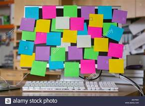 Computer Desktop Post It Notes Post It Notes On Computer Monitor Stock Photo Royalty