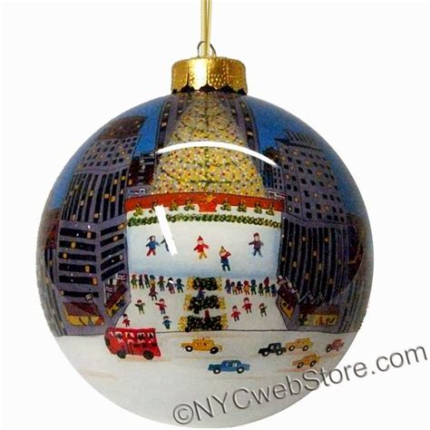 rockefeller center glass ball ornament trees hands and