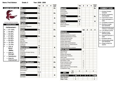 Bilingual Report Card Template by Reports Transcripts Gradelink