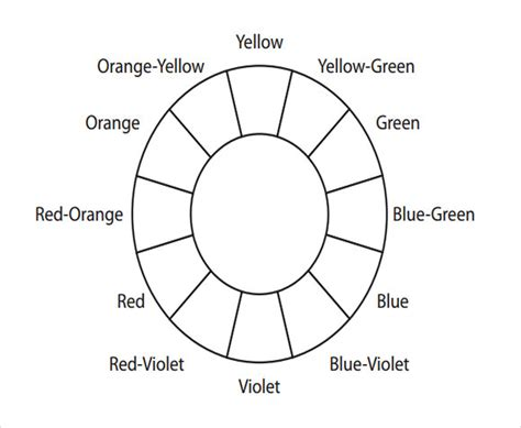 basic color wheel template 6 best images of printable basic color wheel template