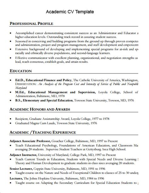 academic resume template word sle academic cv template 8 documents in pdf