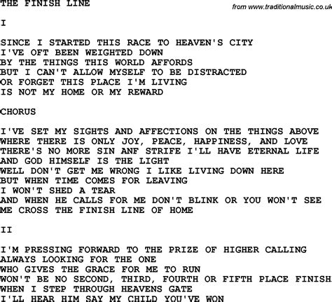 printable country lyrics country southern and bluegrass gospel song the finish