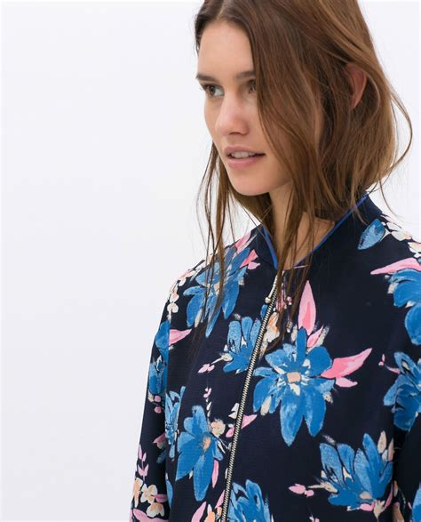 Blue Floral Boomber Printing zara blue tropical floral flower printed bomber jacket