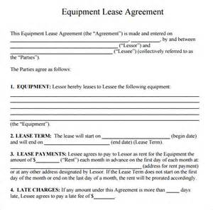 Equipment Lease Agreement Template by Sle Equipment Rental Agreement Template 9 Free