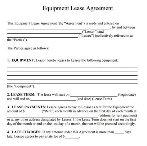 equipment rental lease agreement template sle equipment rental agreement template 9 free