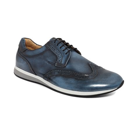 wing tip sneakers geox marvin brushed leather wingtip sneakers in blue for