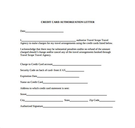 authorization letter for using credit card credit card authorization letter 10 documents