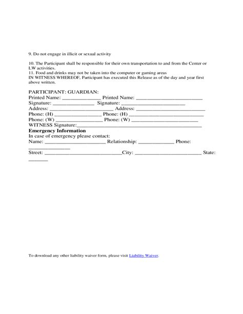 free waiver of liability form template oloschurchtp com