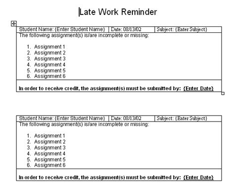 reminder templates for teachers late work word template sle