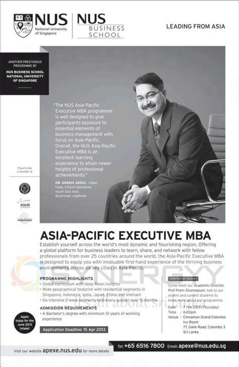 Asia E Mba by Asia Pacific Executive Mba By Nus Business School 171 Synergyy