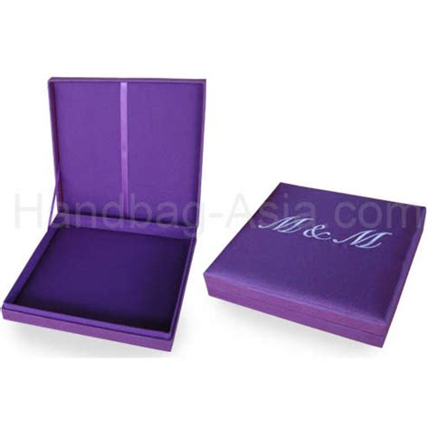 purple wedding invitations boxes purple monogram embroidered wedding box handbag asia com