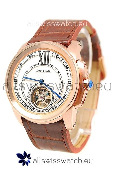 Tagheuer Calibre 16 Rosegold Blue Brown Leather calibre de cartier flying tourbillon japanese replica gold in brown for just