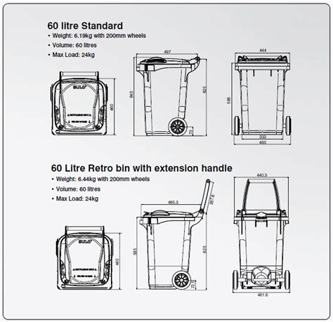 3l bin dimensions crafts 60 litre kompakt or retro mgb sulo australia
