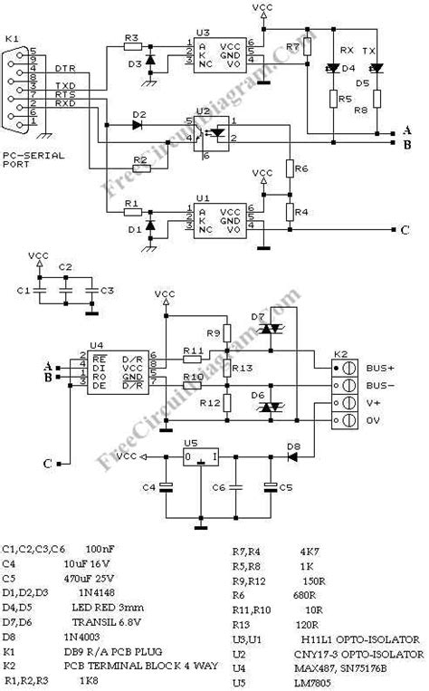 rs232 to rs422 rs485 converter schematic rs232 circuit