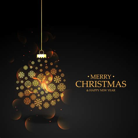 golden christmas ball   snowflakes  black background   vector art stock