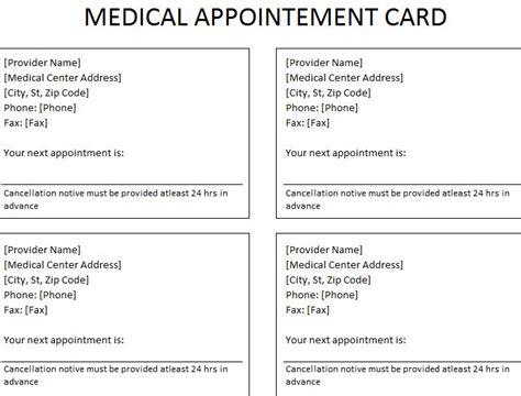 next appointment cards templates free appointment card