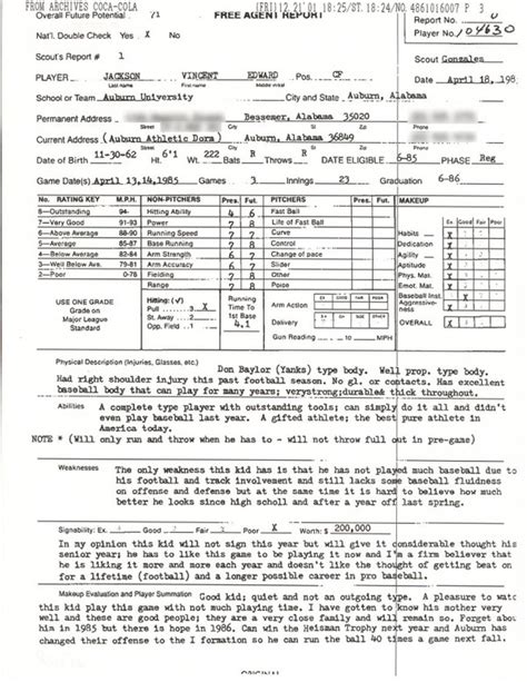 football scouting report template bo jackson s scouting report hardballtalk