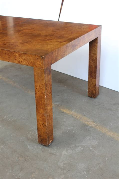 Parsons Dining Table Parsons Style Burl Wood Dining Table By Milo Baughman For Sale At 1stdibs