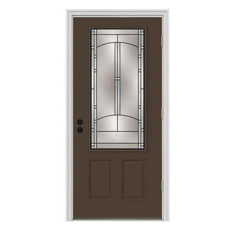Outswing Front Door Jeld Wen 36 In X 80 In 3 4 Lite Idlewild Chocolate Painted Steel Prehung Left