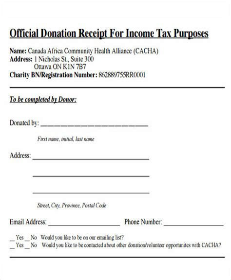 tax receipt for donation template canada 7 tax receipts for donation sle templates