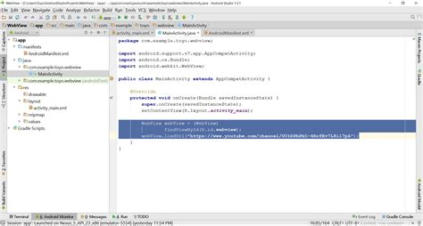 android layout webview get data from website with webview in android studio