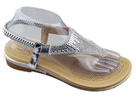 Flat Slippers For Wedding by New Womens Diamante Sparkly Flat Open Toe Summer Slippers
