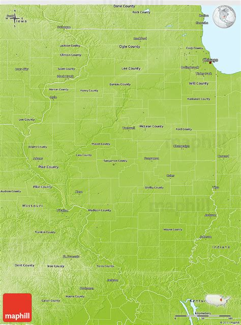 illinois physical map physical 3d map of illinois