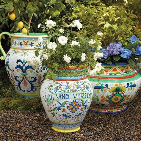 Painted Planter Pots by Italian Inspired Painted Planters Gardening