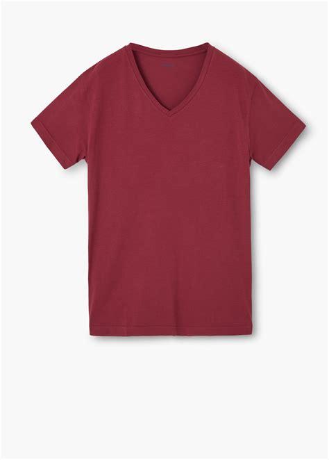 Promo Vneck Maroon lyst mango v neck cotton t shirt in for
