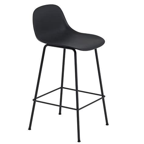 Black Bar Stool With Backrest by Muuto Fiber Bar Stool With Backrest Base Black