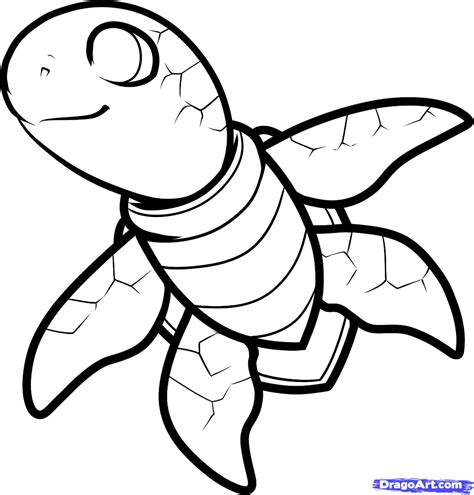 how to draw a sea turtle cartoon sea turtle step by step